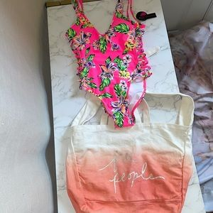 NWT HOT PINK FLORAL ONE PIECE